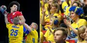 Linus Arnesson och Max Darj försvarar mot Egyptens Ali Zeinelabedin. TT