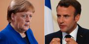 Angela Merkel och Emmanuel Macron. TT