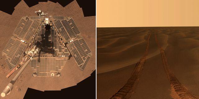 Till vänster: Opportunity på Mars yta. Till höger: Opportunity fotograferade sina egna spår, när sonden satt fast i sanden i över en månad vid ett tidigare tillfälle. REUTERS / TT / kod 72000 / AP Photo/NASA/JPL-Caltech/Cornell University