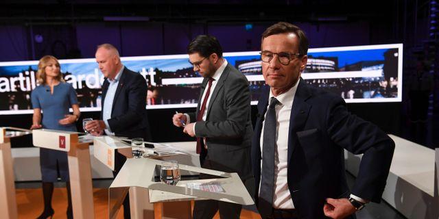 Ulf Kristersson (M), Jimmie Åkesson (SD), Jonas Sjöstedt (V) och Ebba Busch Thor (KD).  Fredrik Sandberg/TT / TT NYHETSBYRÅN