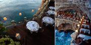 Fiskrestaurangen Grotta Palazzese i södra Italien sägs ta romantik till nya höjder.  Grotta Palazzese
