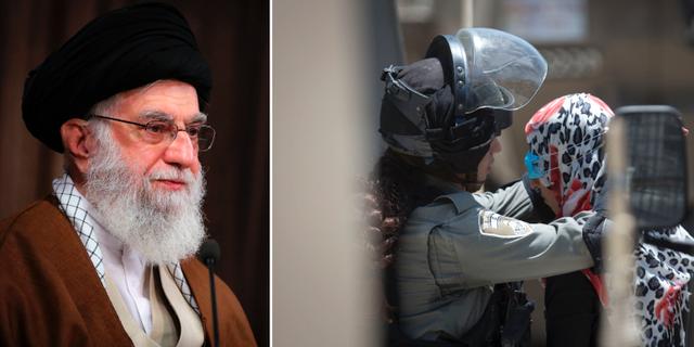 Ayatolla Ali Khamenei/Palestinsk kvinna grips i Israel.  TT