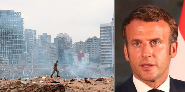 En soldat i Beirut/Frankrikes president Emmanuel Macron.  TT