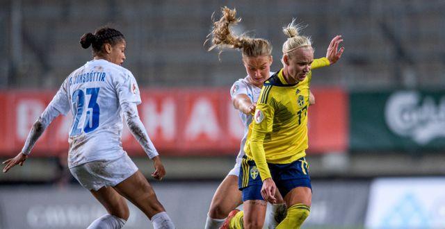 Caroline Seger under matchen mot Island. MATHIAS BERGELD / BILDBYRÅN