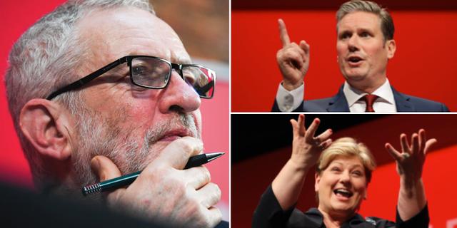 Jeremy Corbyn till vänster, Keir Starmer uppe till höger och Emily Thornberry nere till höger. TT