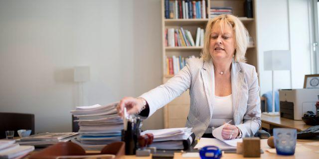 Eva Halvarsson, vd för Andra AP-fonden. BJÖRN LARSSON ROSVALL / TT / TT NYHETSBYRÅN