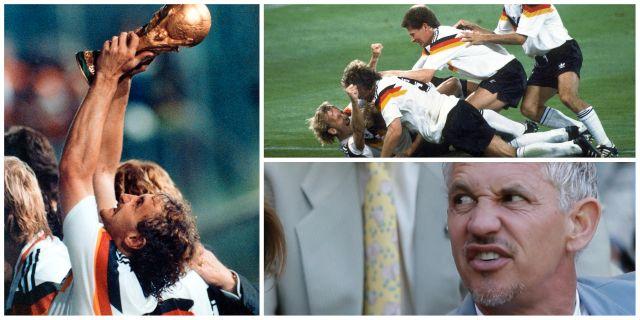 Västtyskland firar efter att ha tagit VM-guld 1990. Gary Lineker TT