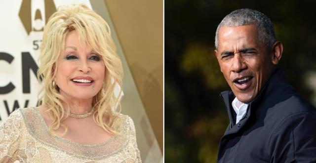 Dolly Parton och Barack Obama/Arkivbilder TT
