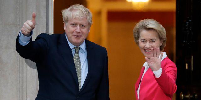 Storbritanniens premiärminister Boris Johnson och EU-kommissionens ordförande Ursula von der Leyen under ett möte 8 januari. Kirsty Wigglesworth / TT NYHETSBYRÅN