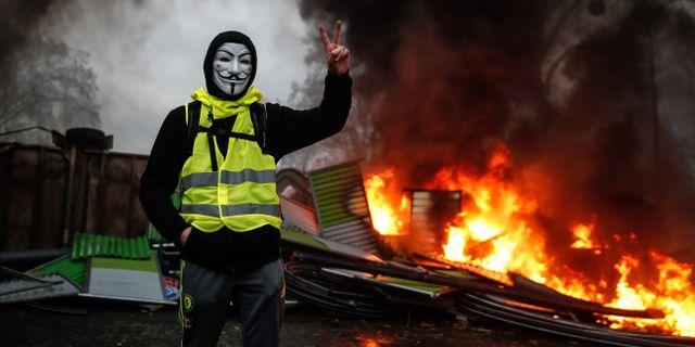 Bild från protesterna i Paris den 1 december. ABDULMONAM EASSA / AFP