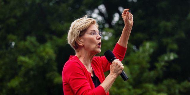 Amerikanska senatorn Elizabeth Warren. ELIJAH NOUVELAGE / TT NYHETSBYRÅN