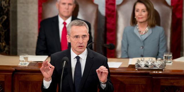 Jens Stoltenberg i USA:s kongress. Andrew Harnik / TT NYHETSBYRÅN/ NTB Scanpix