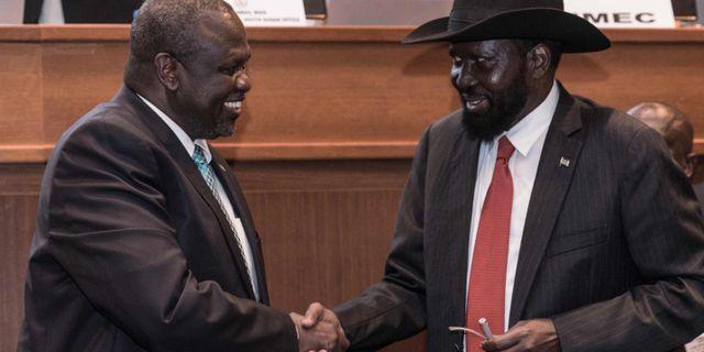 Riek Machar och Salva Kiir. YONAS TADESSE / AFP