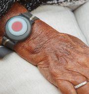 Trygghetslarm på en äldre kvinnas handled/Illustrationsbild Andreas Hillergren/TT / TT NYHETSBYRÅN