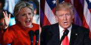 Hillary Clinton och Donald Trump under valrörelsen.  TT
