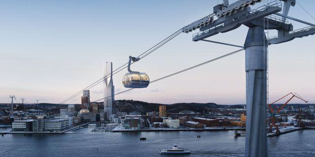 Skiss på linbanan från 2017 Göteborgs Stad