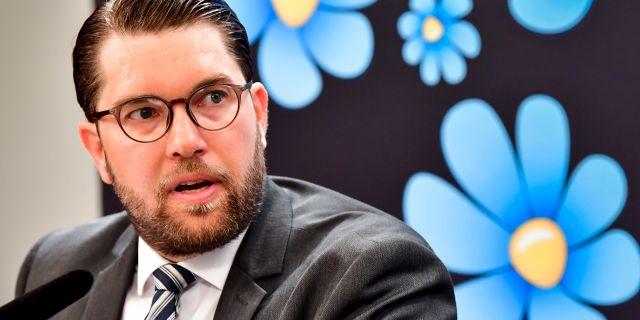 Jimmie Åkesson på pressträffen.  Jonas Ekströmer/TT / TT NYHETSBYRÅN