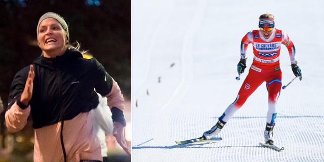 Therese Johaug på en löptur – och samma Johaug i skidspåret. Bildbyrån
