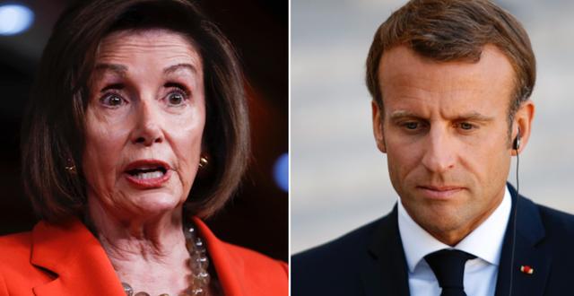 Nancy Pelosi och Emmanuel Macron. TT