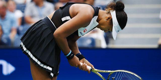 Naomi Osaka besviken efter uttåget ur US Open. MATTHIAS HAUER / BILDBYRÅN