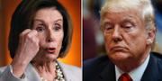 Nancy Pelosi, som inledde Demokraternas riksrättsprocess mot Trump, och Donald Trump.  TT/AP