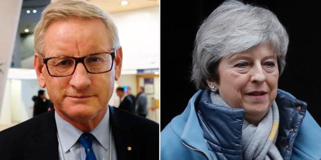 Carl Bildt och Theresa May. TT
