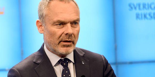 Jan Björklund på dagens pressträff. Stina Stjernkvist/TT / TT NYHETSBYRÅN
