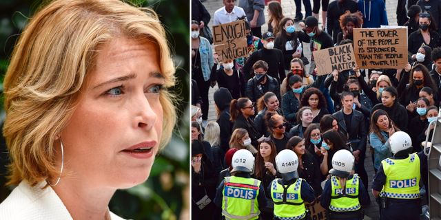 Annika Strandhäll/bild från demonstrationen TT