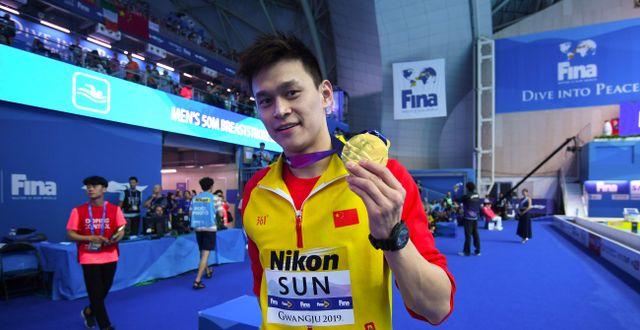 Sun Yang vid världsmästerskapen i Sydkorea 2019. ED JONES / TT NYHETSBYRÅN