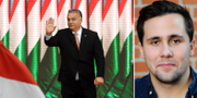 Ungerns premiärminister Viktor Orbán och Muf-ordföranden Benjamin Dousa. TT