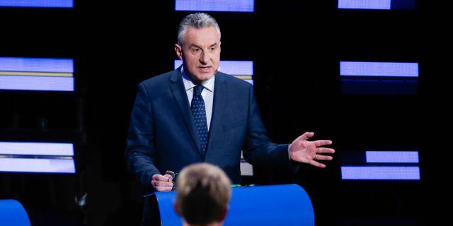 Jan Zahradil under debatten. ARIS OIKONOMOU / AFP