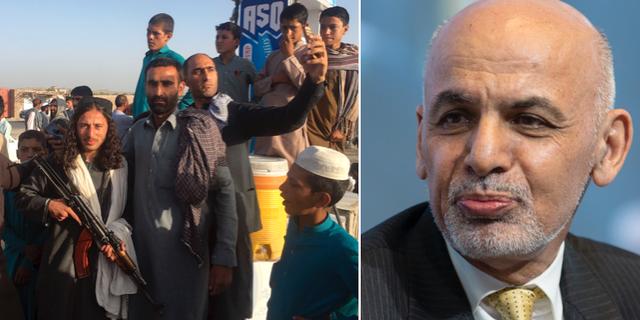 Människor som passar på att ta en selfie med en taliban under vapenvilan/president Ashraf Ghani. TT