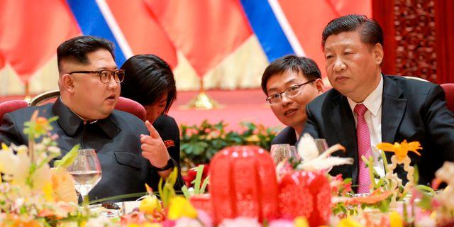 Kim Jong-Un och Xi Jinping. TT / NTB Scanpix