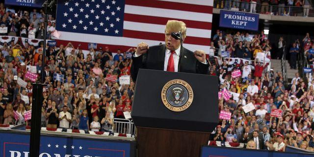 Donald Trump håller tal i Minnesota. JONATHAN ERNST / TT NYHETSBYRÅN