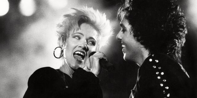 Marie Fredriksson och Per Gessle uppträder på Skeppsholmen i Stockholm 27:e juli 1987. TT