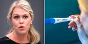 Socialminister Lena Hallengren samt en bild på en kvinna som håller i ett graviditetstest. Arkivbilder. TT