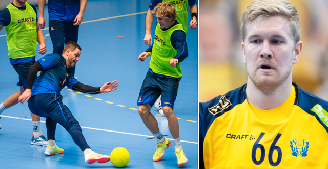 Sveriges målvakt Andreas Palicka och Alfred Jönsson under en träning/Anton Lindskog Bildbyrån