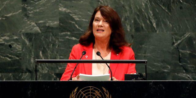 Utrikesminister Ann Linde.  Richard Drew / TT NYHETSBYRÅN