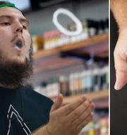 Amerikansk man röker e-cigarett/illustrationsbild. TT