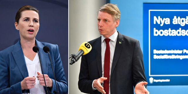 Danmarks statsminister Mette Frederiksen och Sveriges bostadsminister Per Bolund (MP) Philip Davali/Scanpix/TT och Jonas Ekströmer/TT