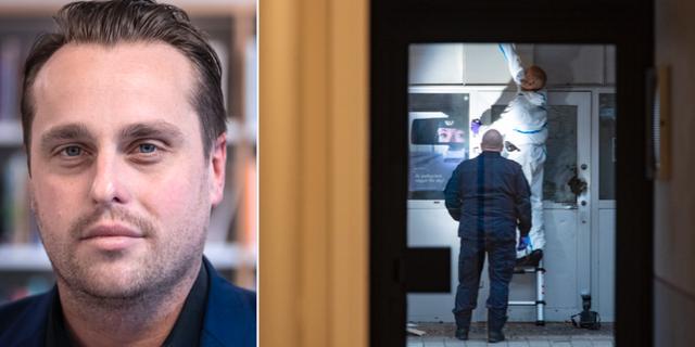Christian Sonesson (M) och en bild från explosionen. TT