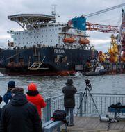 Ryska fartyget Fortuna arbetar med Nord Stream 2 utanför tyska hamnen i Wismar.  Jens Buettner / TT NYHETSBYRÅN