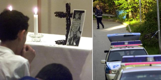Bilder från mordet i Hovsjö, skolkamrater som samlats för minnesstund och teknik utredning på brottsplatsen. TT