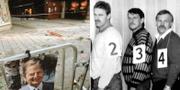 Mordplatsen på Sveavägen 1986 och Christer Pettersson under en vittneskonfrontation. TT