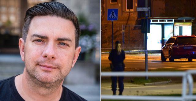 Jimmy Jansson/Polis på plats efter dödsskjutningen i Nyköping. TT