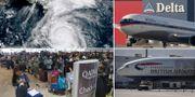 Irma, Qatar Airways-kunder, British Airways-plan och Delta Air Lines-plan. Arkivbilder. TT