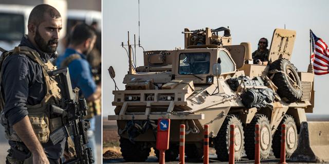 SDF-soldat/amerikanskt militärfordon i Syrien. TT