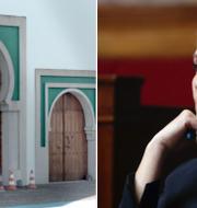 Moskén som attackerades/Marine Le Pen. TT