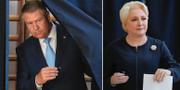 Klaus Iohannis och Viorica Dancila i samband med EU-valet i våras. TT