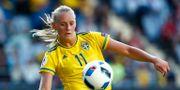 Stina Blackstenius har gjort mål i Sveriges två första matcher. Här på en bild från en tidigare match mot Moldavien. Thomas Johansson/TT / TT NYHETSBYRÅN